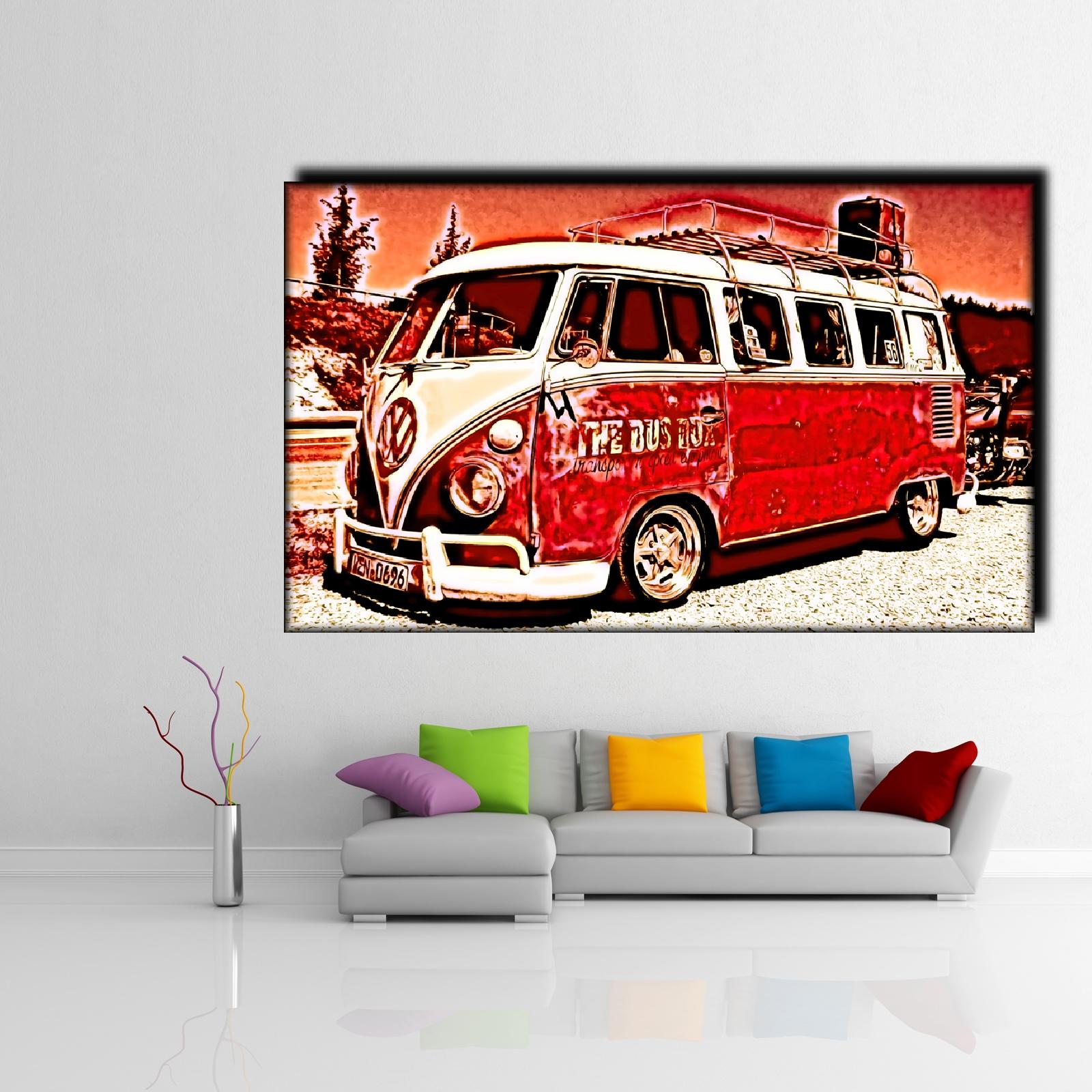 Bild auf Leinwand Bulli Bus V3 1K Leinwandbild Wandbild Poster