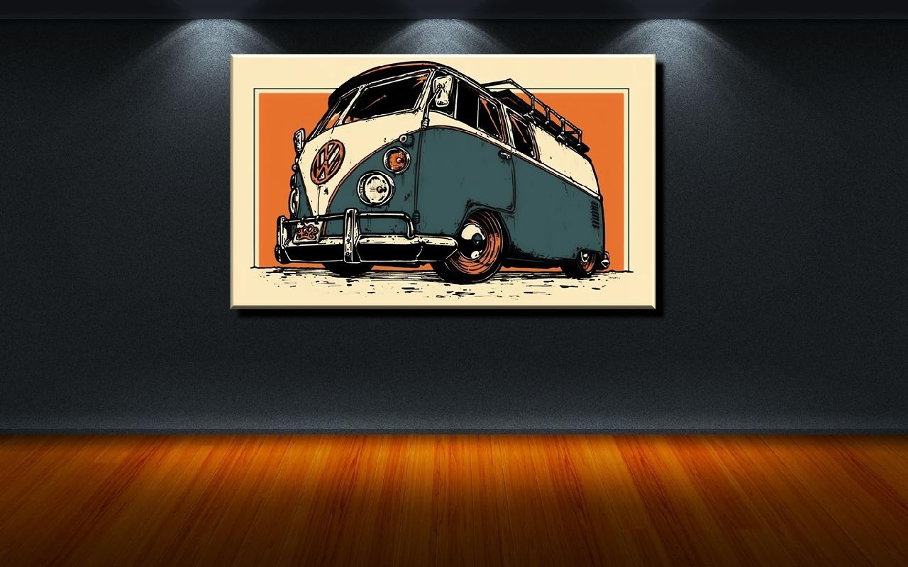 VW Bulli hellblau-Bild Kunstdruck Poster Fotoleinwand Wandbild 100 cm*65 cm 515