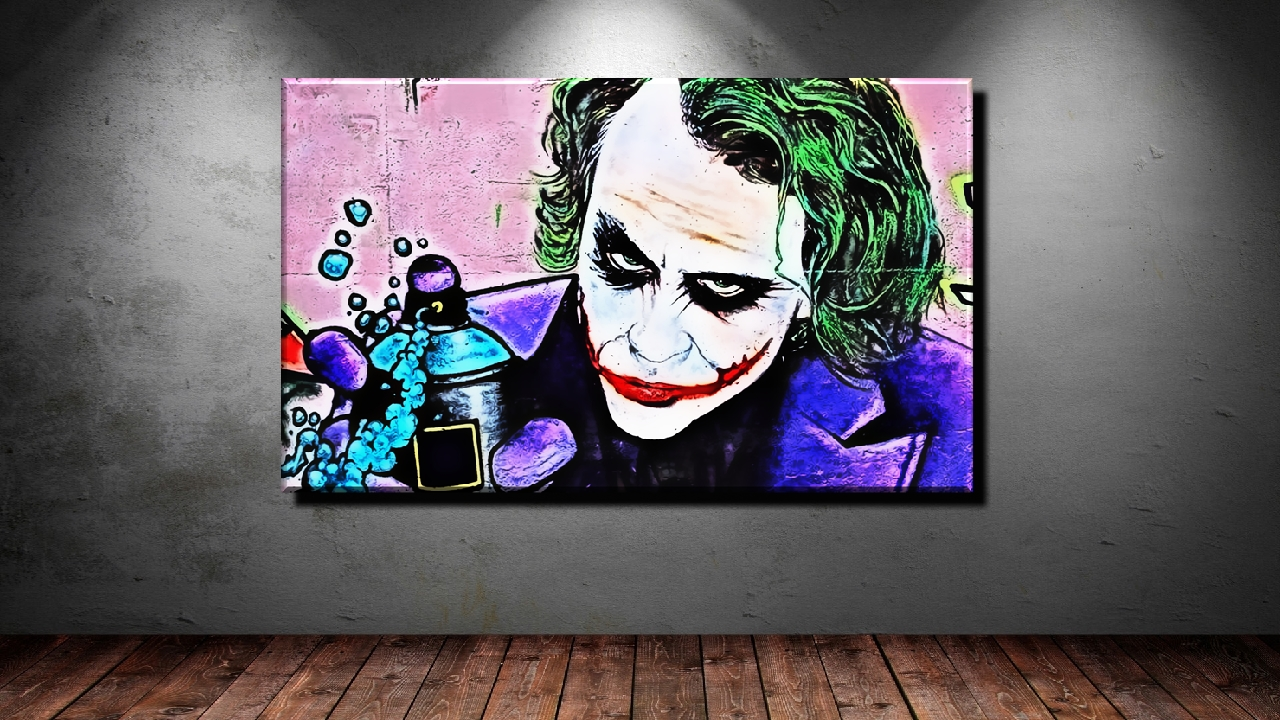 leinwand bild xxl pop art joker abstrakt graffiti style mauer bunt bis 150x90 ebay. Black Bedroom Furniture Sets. Home Design Ideas