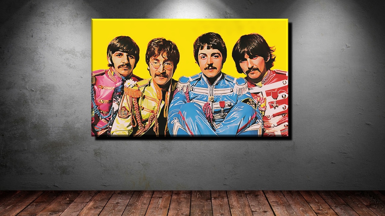 poster xxl pop art beatles john lennon gelb abstrakt collage bis 150x90 ebay. Black Bedroom Furniture Sets. Home Design Ideas