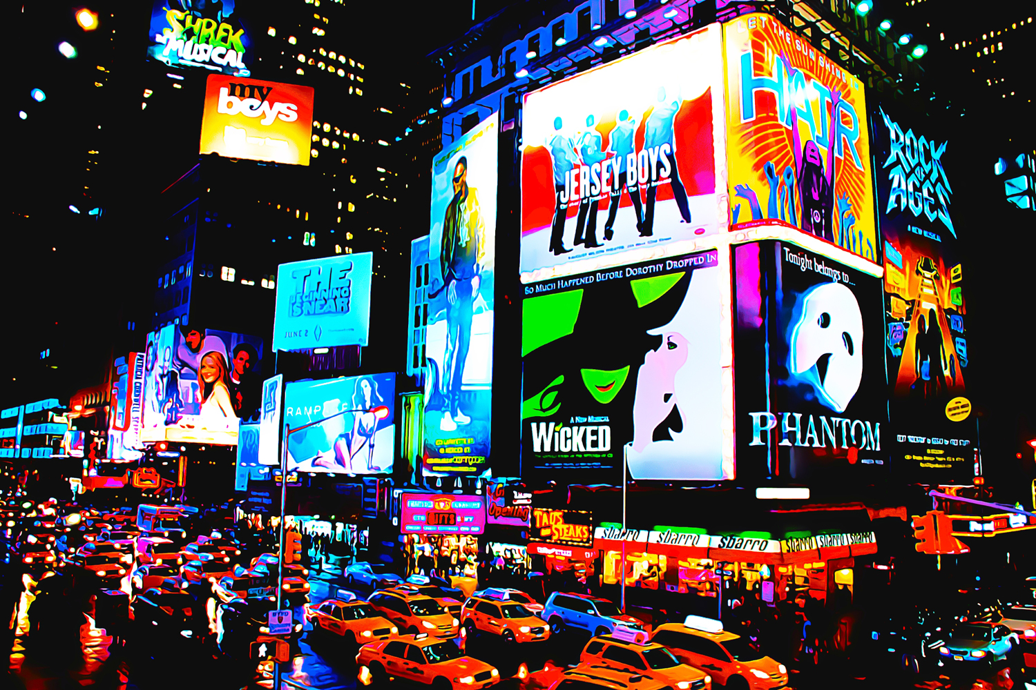 poster bild xxl pop art times square broadway new york neighborhood 120x80 ebay. Black Bedroom Furniture Sets. Home Design Ideas